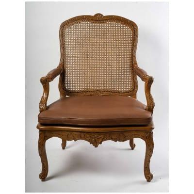 Jean-Baptiste Cresson – Grand fauteuil à fond de cannes d'époque Louis XV vers 1750