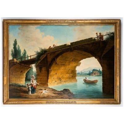 École française – Huile sur Toile Le Pont en Ruine par un suiveur d'Hubert Robert vers 1820