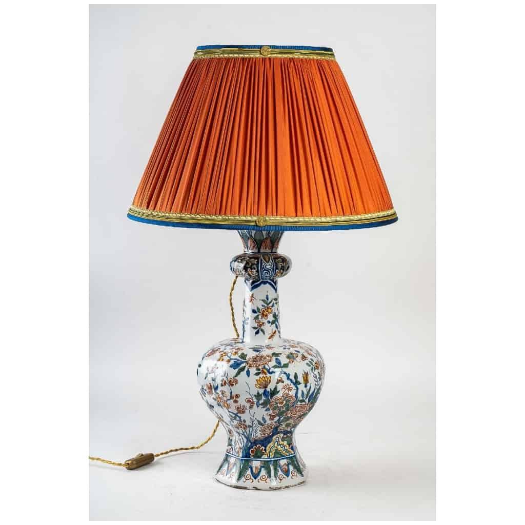 Marque Pk – Vase bulbe en faïence polychrome de Delft XIXème siècle monté en lampe 3