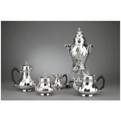 Orfèvre BOIN TABURET – Service Thé/Café 4 pièces en argent massif plus Samovar en métal argenté XIXe