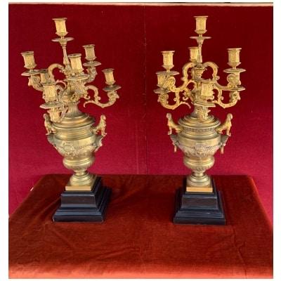 Paire de grands Candélabres en bronze doré XIXe siècle 3