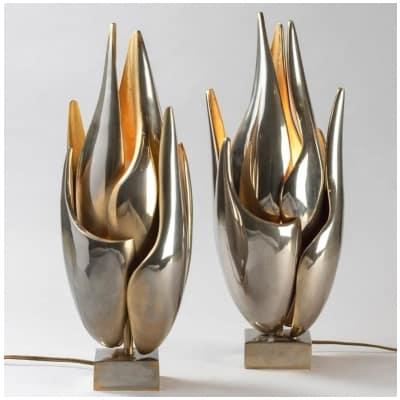 Paire de lampes «Flamme» de Michel Armand