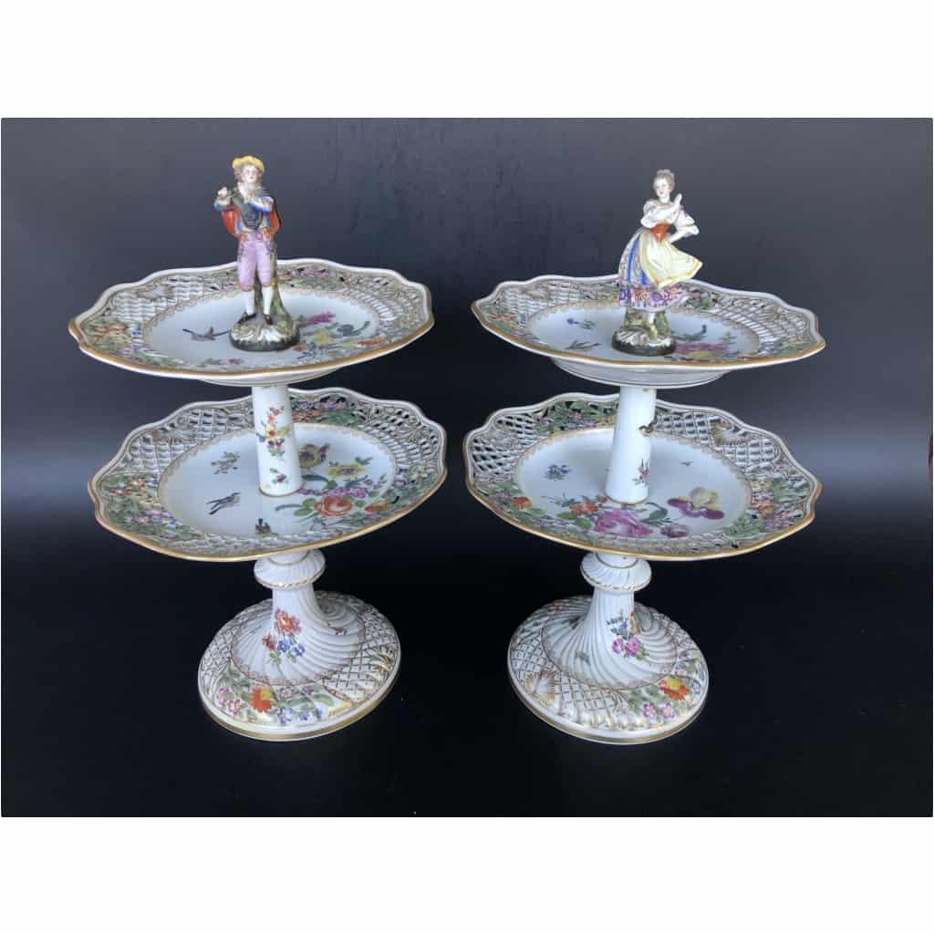 Paire De Serviteurs De Table En Porcelaine Vers 1900 3