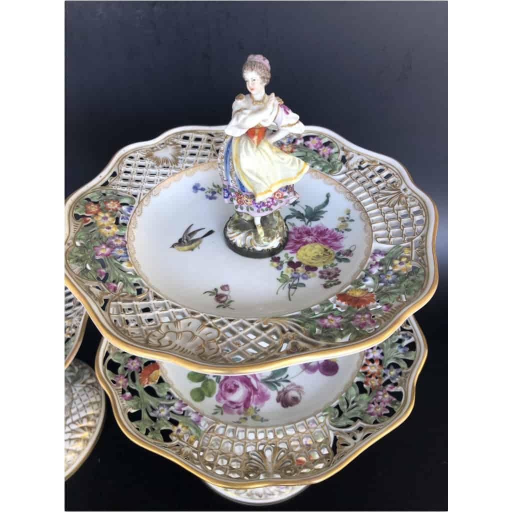 Paire De Serviteurs De Table En Porcelaine Vers 1900 5
