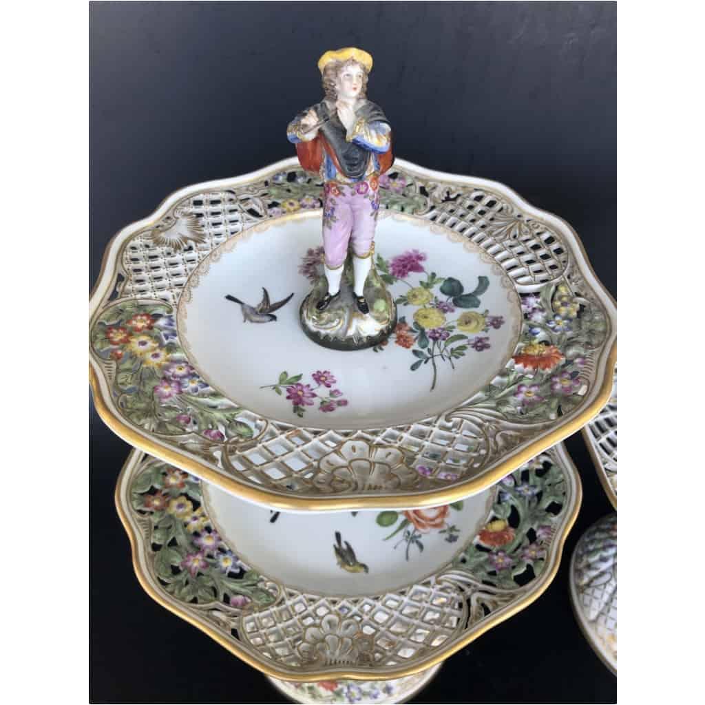 Paire De Serviteurs De Table En Porcelaine Vers 1900 6
