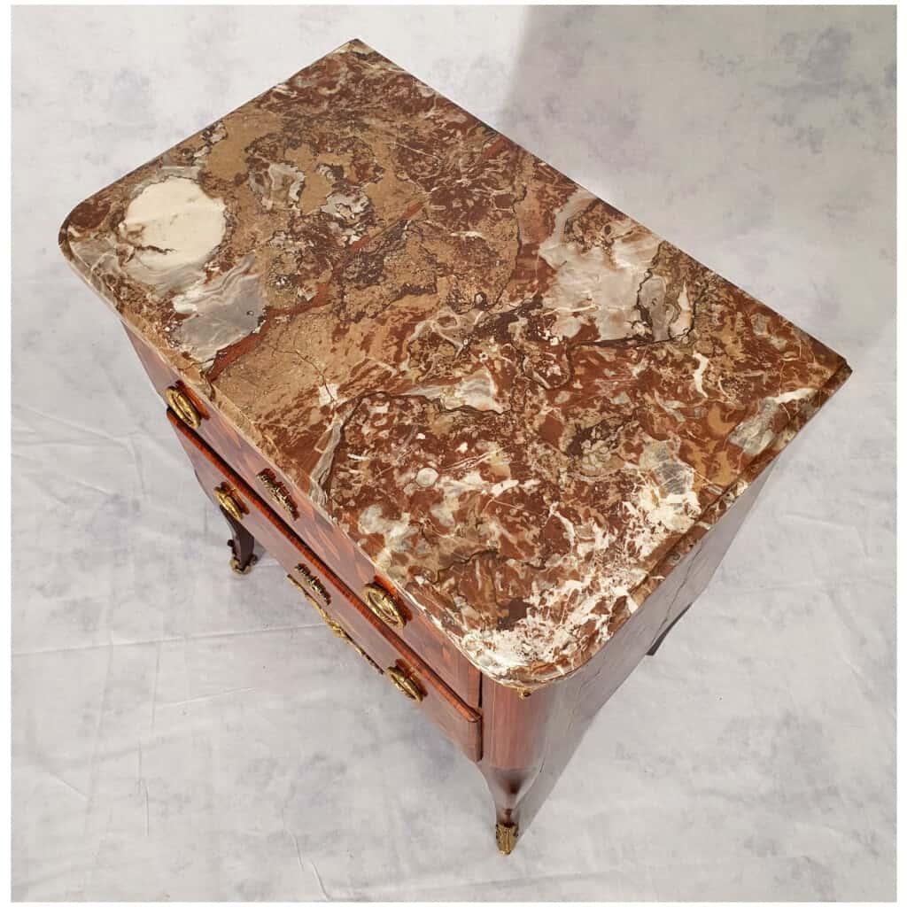 Commode Transition Louis XV, Louis XVI – Marqueterie Cubes – Bois de Rose, Palissandre – 18ème 8