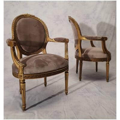 Paire fauteuils st. Louis XVI dorés