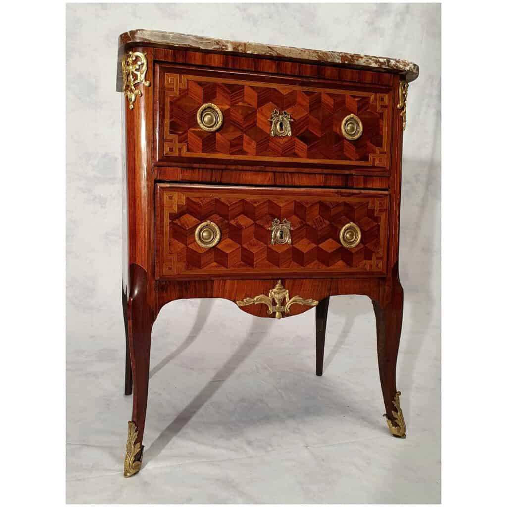Commode Transition Louis XV, Louis XVI – Marqueterie Cubes – Bois de Rose, Palissandre – 18ème 6
