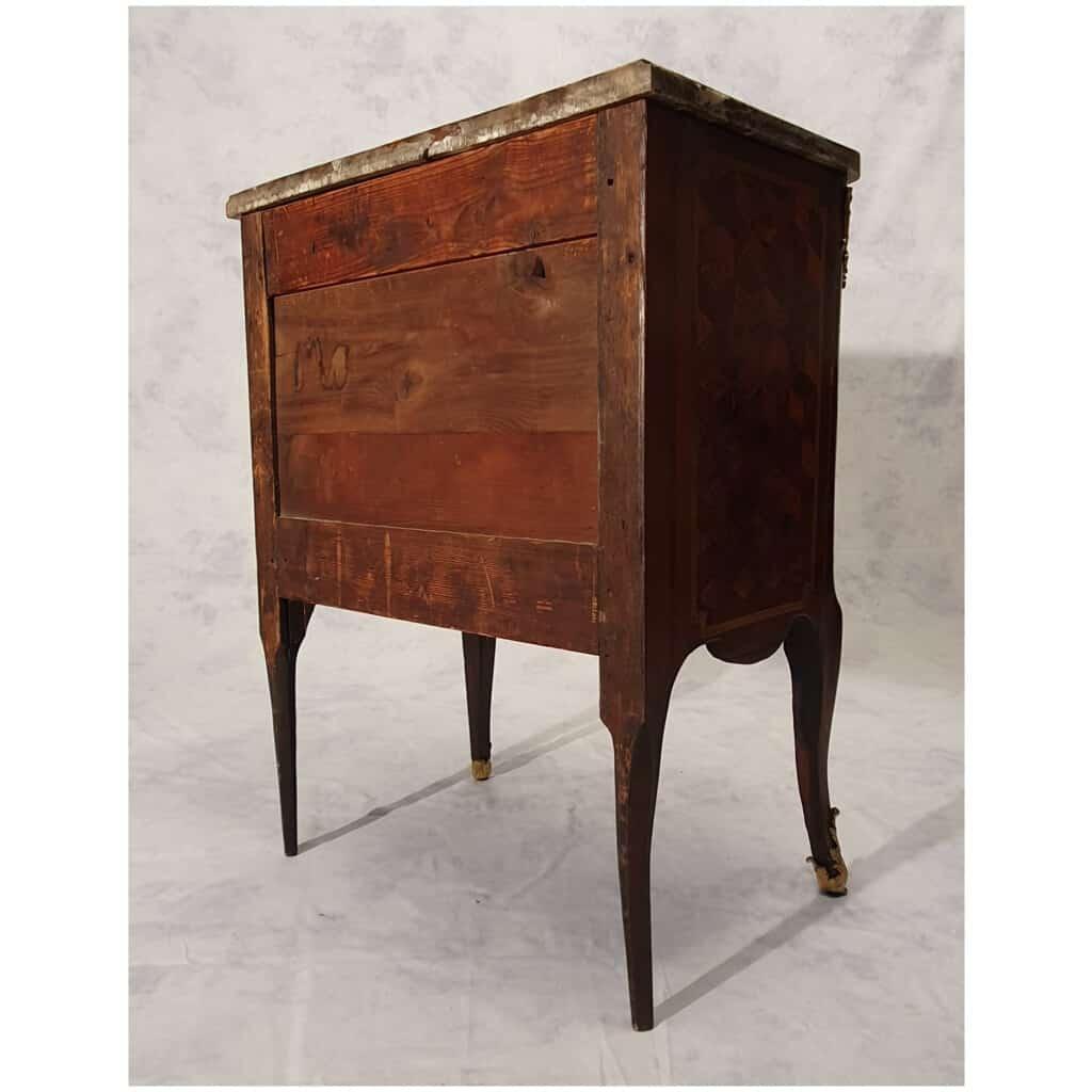 Commode Transition Louis XV, Louis XVI – Marqueterie Cubes – Bois de Rose, Palissandre – 18ème 13