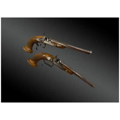 Paire de Pistolets d'Officier transformée à percussion, signée Manufacture de Versailles, BOUTET Période Consulat 1er Empire, France