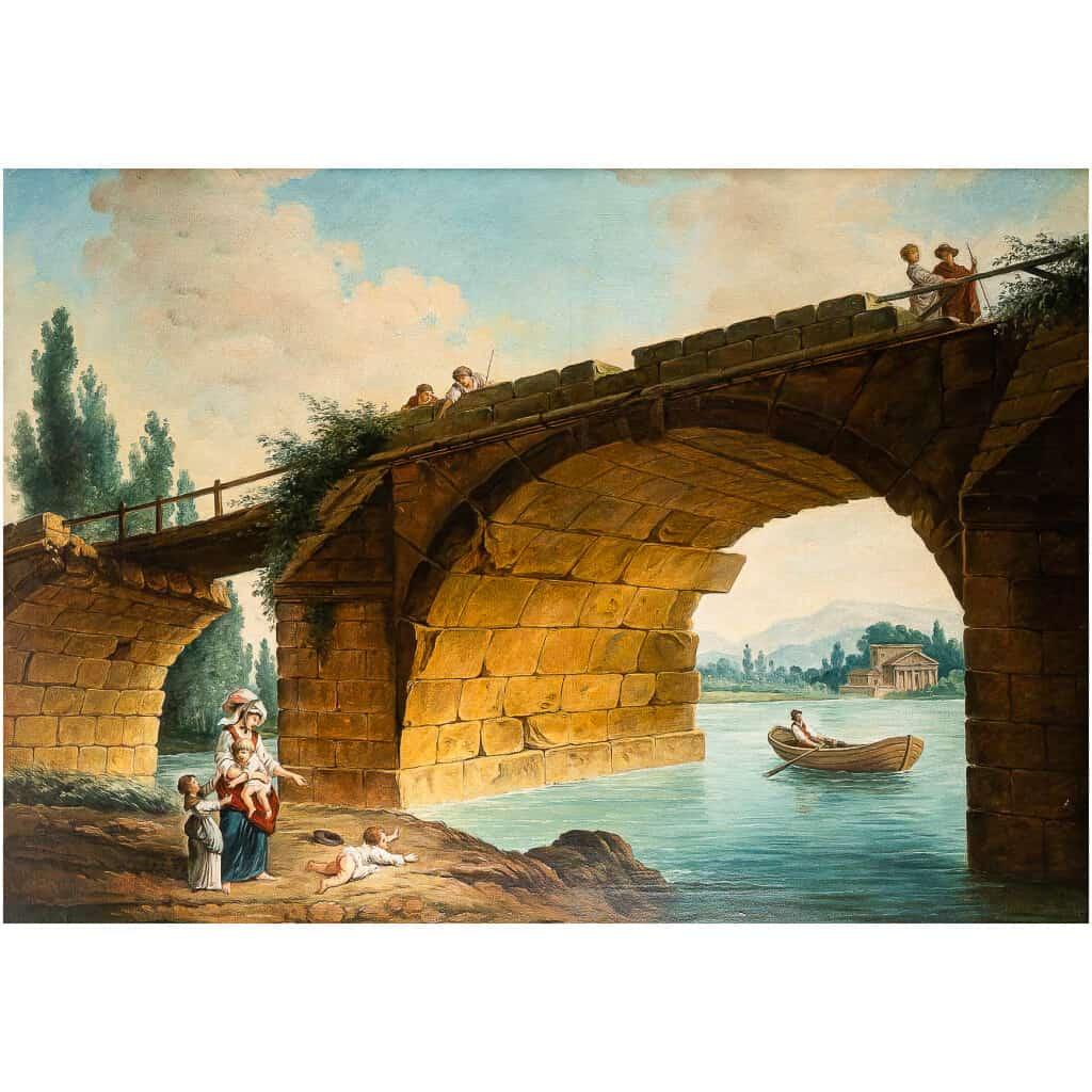 École française – Huile sur Toile Le Pont en Ruine par un suiveur d'Hubert Robert vers 1820 4