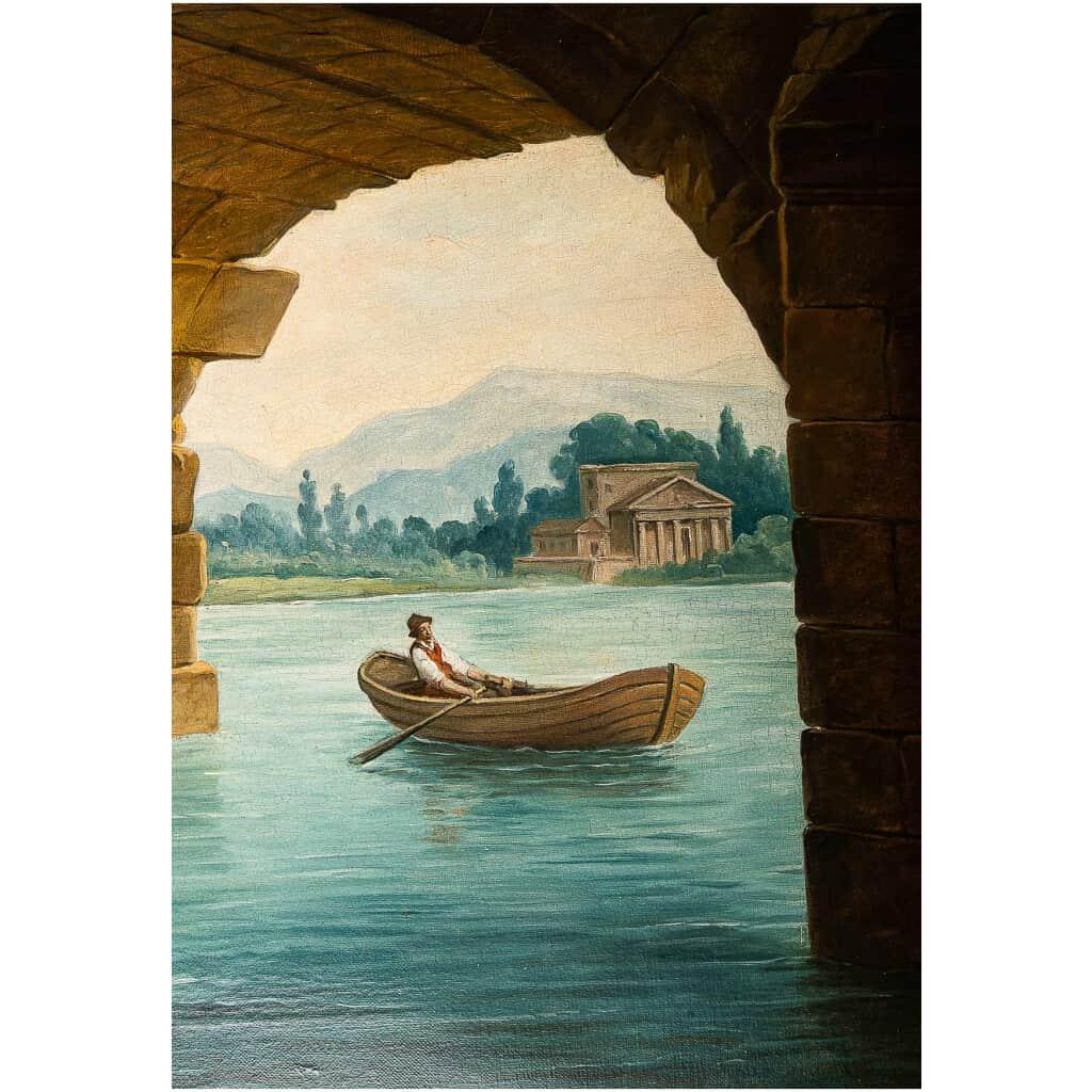 École française – Huile sur Toile Le Pont en Ruine par un suiveur d'Hubert Robert vers 1820 5