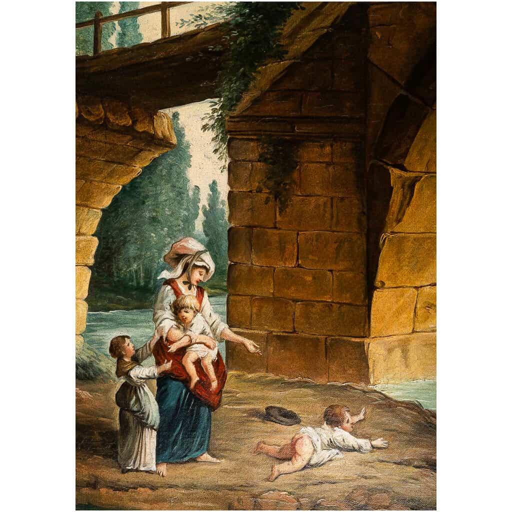 École française – Huile sur Toile Le Pont en Ruine par un suiveur d'Hubert Robert vers 1820 6