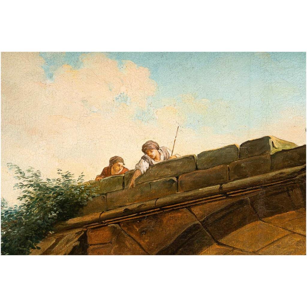 École française – Huile sur Toile Le Pont en Ruine par un suiveur d'Hubert Robert vers 1820 7