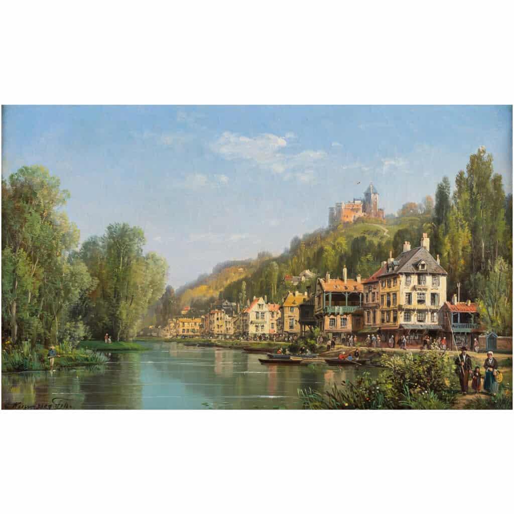 Charles-Euphrasie Kuwasseg Maisons dans les Alpes en bord de rivière vers 1870-1880 4