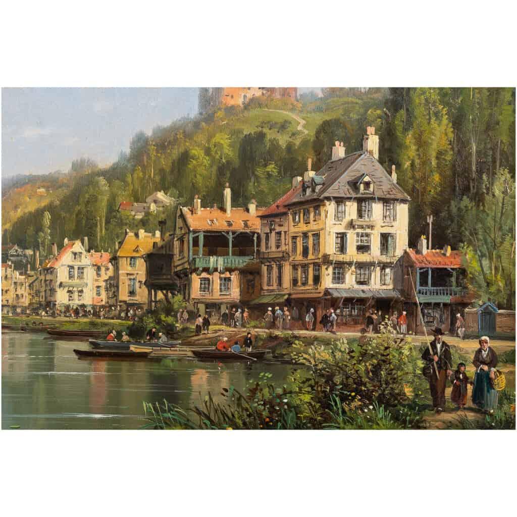 Charles-Euphrasie Kuwasseg Maisons dans les Alpes en bord de rivière vers 1870-1880 8