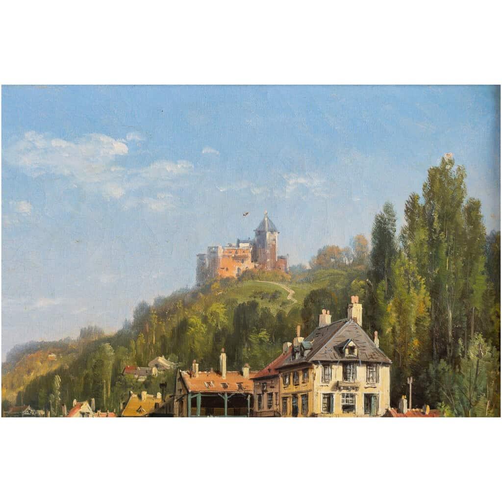 Charles-Euphrasie Kuwasseg Maisons dans les Alpes en bord de rivière vers 1870-1880 5