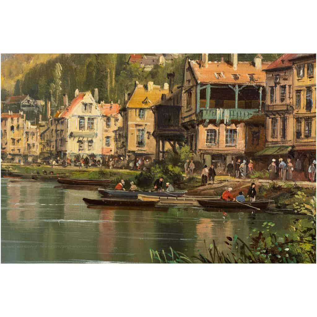 Charles-Euphrasie Kuwasseg Maisons dans les Alpes en bord de rivière vers 1870-1880 9