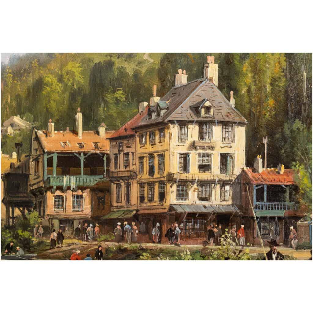 Charles-Euphrasie Kuwasseg Maisons dans les Alpes en bord de rivière vers 1870-1880 11