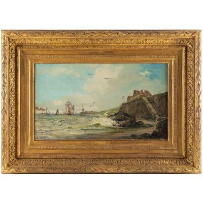 Jules Véron-Faré Scène de marine huile sur toile vers 1880-1890