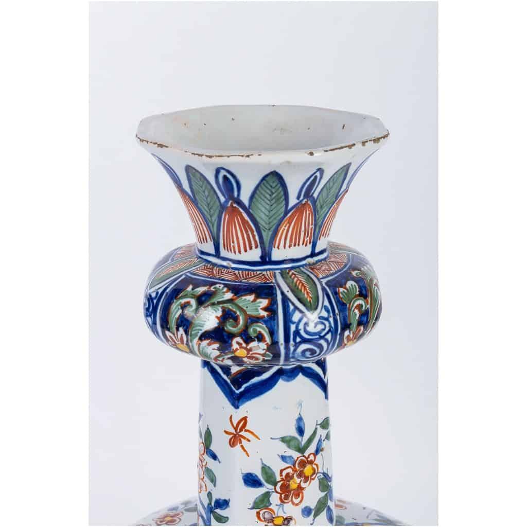 Marque Pk – Vase bulbe en faïence polychrome de Delft XIXème siècle monté en lampe 8