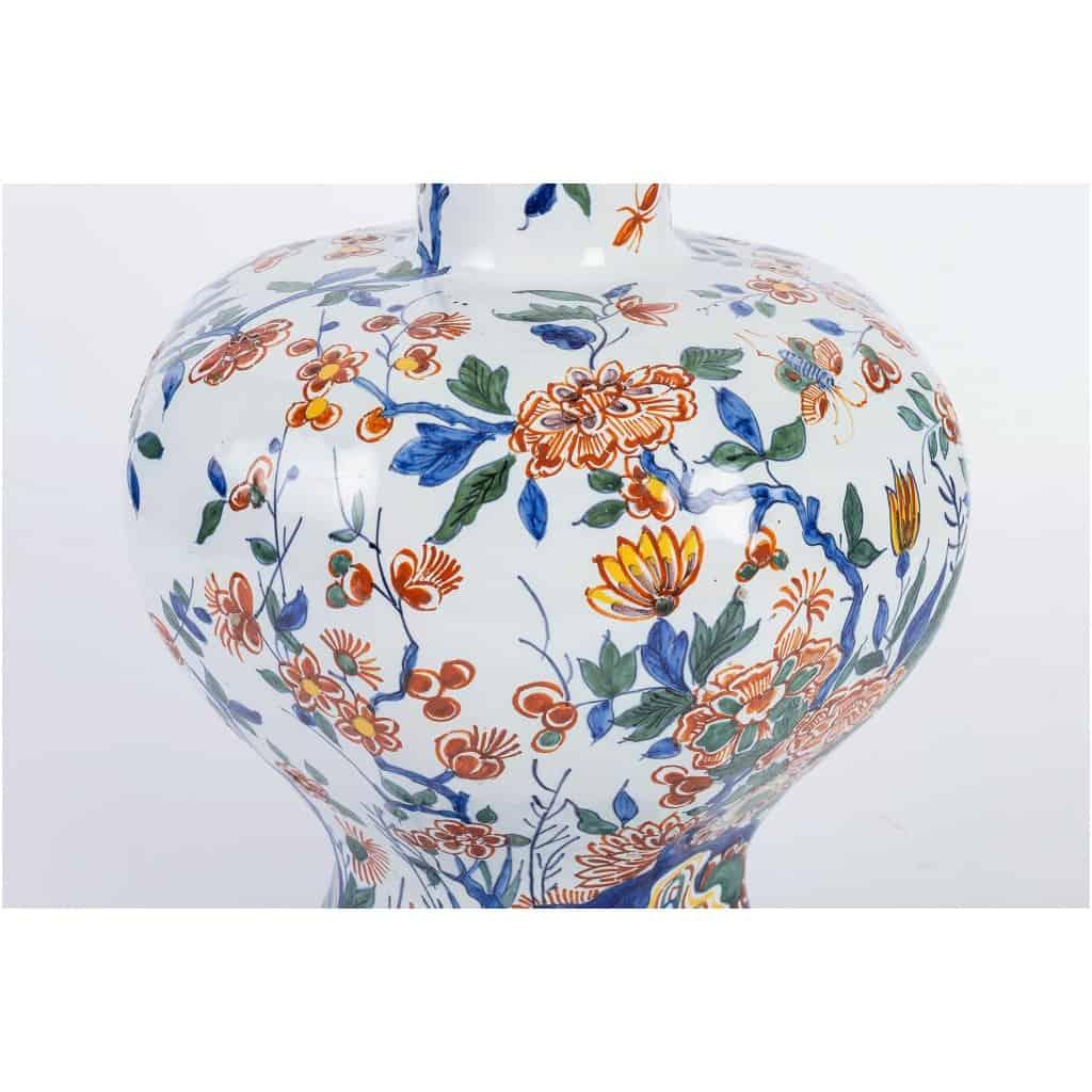 Marque Pk – Vase bulbe en faïence polychrome de Delft XIXème siècle monté en lampe 9