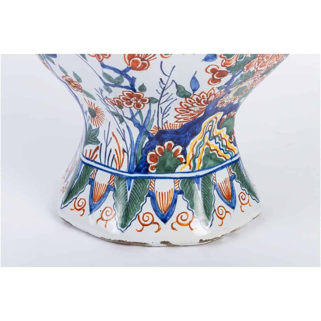 Marque Pk – Vase bulbe en faïence polychrome de Delft XIXème siècle monté en lampe 10