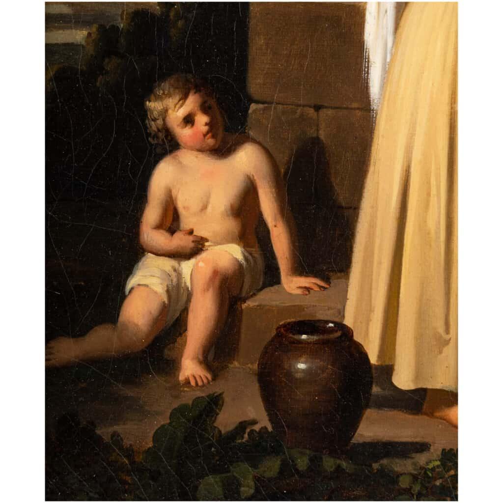 Léopold Robert 1794-1835. Paire De Tableaux. Au Puits Et Le Repos. 8