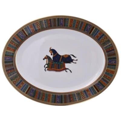 Hermès, Oval Porcelain Dish Collection «Cheval d'Orient»
