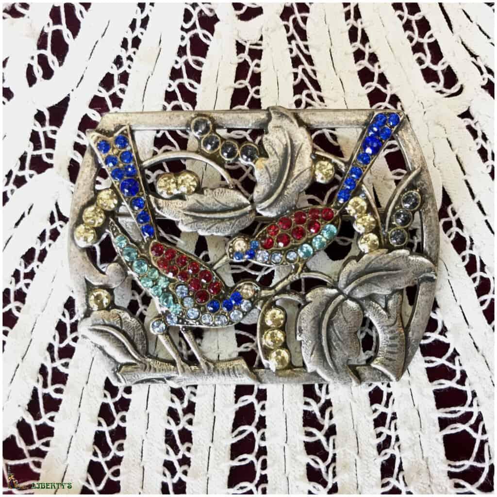 Grande broche Pierre-Bex strass deux oiseaux (1970-1980)