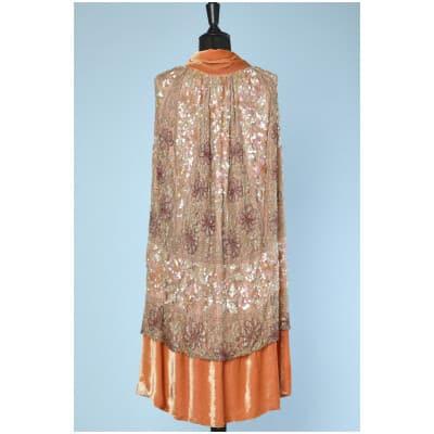 Cape 1925 en velours de soie orange et dentelle perlée et pailletée