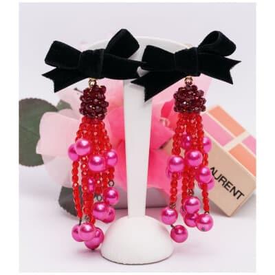 Boucles d'oreilles roses et noires Yves Saint Laurent