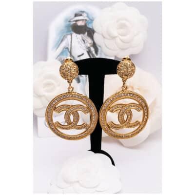 Boucles d'oreilles cc dorées Chanel
