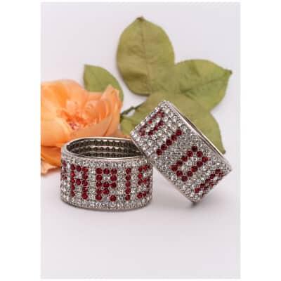 Paire de bracelets strassés Dior