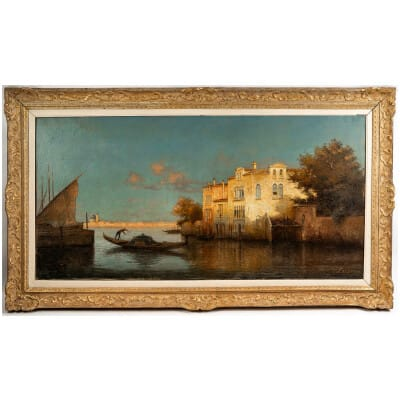 Alphonse Lecoz Gondole sur un Canal de Venise huile sur toile vers 1890-1900