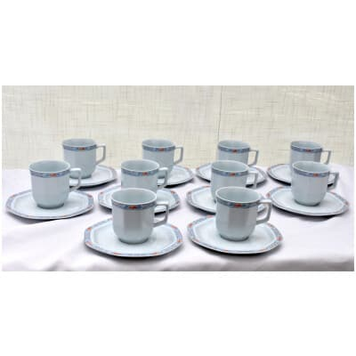 """10 tasses à café en porcelaine de Limoges (Haviland), modèle """"Pamplemousse"""""""