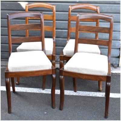 Série De 4 Chaises En Acajou Style Restauration