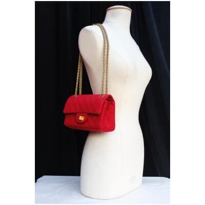 Sac 2.55 en jersey rouge cerise Chanel 2015