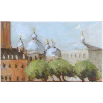Tableau San Marco, la Basilique, Venise - Huie sur toile