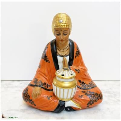 Veilleuse brûle-parfum Art-Deco porcelaine de Limoges sujet chinoise, haut. 17 cm (Deb. XXe)