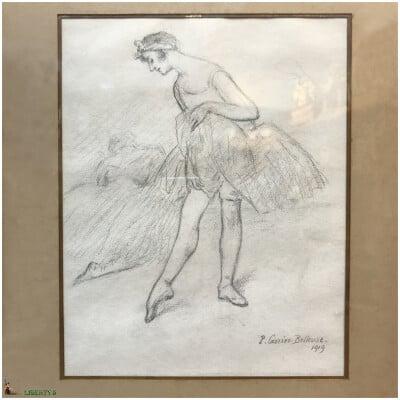Dessin encadré avec danseuse signé Pierre Carrier-Belleuse, 18 cm x 23 cm (1919)