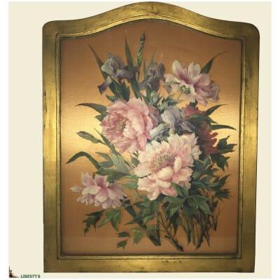 Peinture sur verre encadrée fleurs, 55 cm x 70 cm (Mi. XXe)