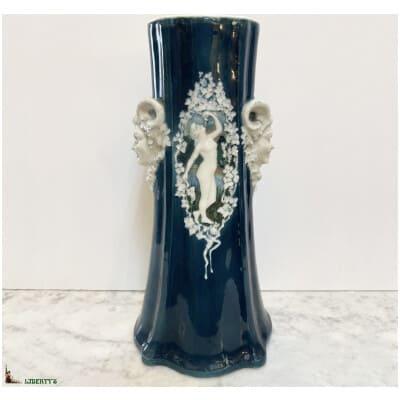 Grand vase porcelaine d'Alfortville, haut. 39.5 cm (XIXe)