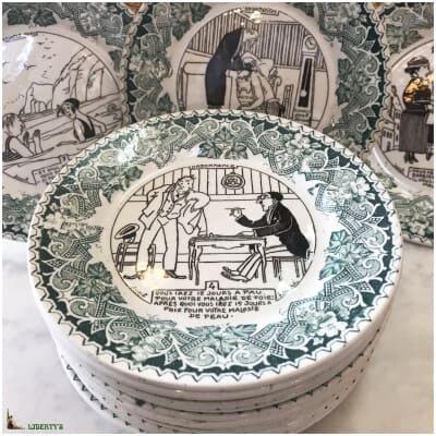 Suite de 12 assiettes faïence de Luneville, décors de Joseph Hemard (1880 – 1961), diam. 18 cm