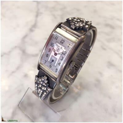 Montre quartz Pierre-Bex avec bracelet laiton plaqué argent et strass (1980-1990)