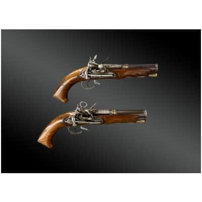 Paire De Pistolets à Silex, Platines à La Miquelet, Espagne XVIIIème