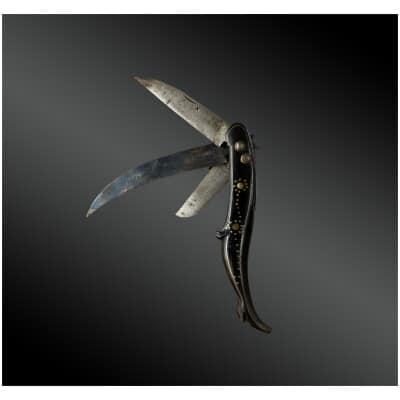 Couteau Pliant Trois Pièces, à Poignée En Jambette France Fin XVIIIème