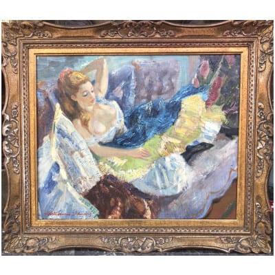 Louis BERTHOMME St ANDRE Jeune femme se reposant Huile sur toile signée