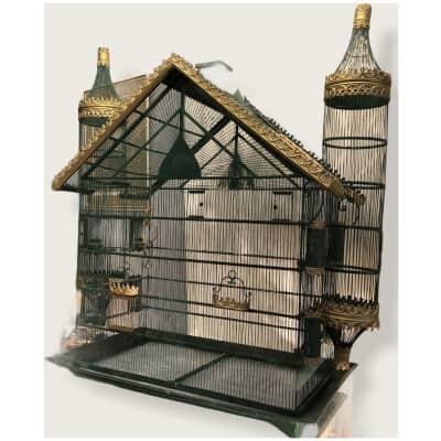 Grande cage à oiseaux métal doré et laqué fin XIXè