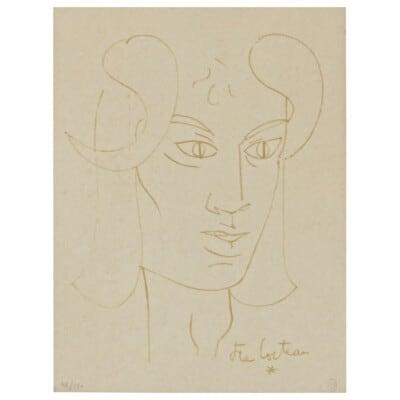 «le Fauve Rêveur» Jean Cocteau Lithographie